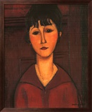 Portrait of Young Woman, c.1916 Art texturé encadré par Amedeo Modigliani