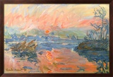 Lavacourt Sunset Art texturé encadré par Claude Monet