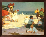 On the Beach (Potthast) Art texturé encadré par Edward Henry Potthast