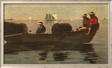 Three Boys in a Dory Art texturé encadré par Winslow Homer