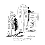 """Uncle: Poor girls  so few get their wages! Flapper: So few get their sin  …"""" - New Yorker Cartoon"""