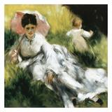 Femme à l'ombrelle et enfant