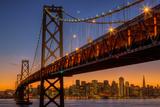 San Francisco Cityscape  Bay Bridge and Crescent Moon