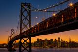 Bay Bridge and Crescent Moon Cityscape  California