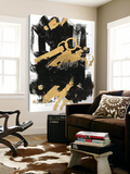 Gold Black Abstract Panel I Toile Murale Géante par Mike Schick