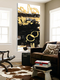 Gold Black Abstract Panel III Toile Murale Géante par Mike Schick