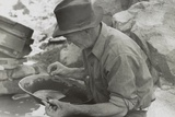 Man Panning Gold at Pinos Altos  New Mexico