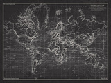 Ocean Current Map - Global Shipping Chart Giclée par The Vintage Collection