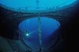 Scuba Diver Exploring a Shipwreck  Papua New Guinea  Coral Sea