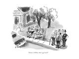 """Damn it  Wilbur  that's our bench!"" - New Yorker Cartoon"