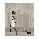 Woman Walking with a Dog. Vector Reproduction d'art par Ladoga
