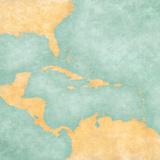 Map of Caribbean - Blank Map (Vintage Series) Reproduction d'art par Tindo