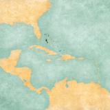 Map of Caribbean - Bahamas (Vintage Series) Reproduction d'art par Tindo