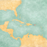 Map of Caribbean - Puerto Rico (Vintage Series) Reproduction d'art par Tindo