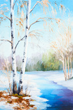 Oil Painting Winter Landscape  Frozen River in the Forest  Color