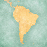 Map of South America - Blank Map (Vintage Series) Reproduction d'art par Tindo