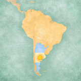 Map of South America - Argentina (Vintage Series) Reproduction d'art par Tindo