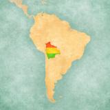 Map of South America - Bolivia (Vintage Series) Reproduction d'art par Tindo