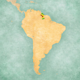 Map of South America - Guyana (Vintage Series) Reproduction d'art par Tindo