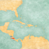 Map of Caribbean - Costa Rica (Vintage Series) Reproduction d'art par Tindo