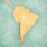 Map of South America - Chile (Vintage Series) Reproduction d'art par Tindo