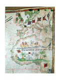 Map by Bastian Lopez Showing Europe, the British Isles and Part of Africa, Portuguese, 1558 Giclée par Bastiaim Lopez