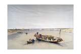 The Nile Looking Towards the Pyramids of Dahshur and Saqqarah  19th Century
