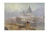 View of Blackfriars Bridge and St Paul's Cathedral  London  1840