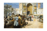 An Open-Air Restaurant, Lahore, C1889 Giclée par Edwin Lord Weeks