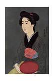 A Japanese Waitress with a Tray  1920
