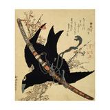 The Little Raven. Minamoto Clan Sword, C1823 Giclée par Katsushika Hokusai