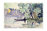 Fisherman in a Boat Near a Bank of the Seine  C1900