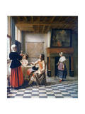 Interior  Woman Drinking with Two Men  and a Maidservant  C1658