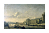 View of the Seine with the South Facade of the Louvre Gallery  Paris  1660