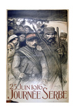 25 June 1916 - Serbia Day  French World War I Poster  1916