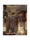 Interior of a Cave Temple  Ellora  Maharashtra  India  19th Century