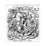 Man Is But a Worm, Cartoon from Punch Showing Evolution from Worm to Man, 1881 Giclée