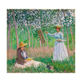In the Woods at Giverny: Blanche Hoschedé at Her Easel with Suzanne Hoschedé Reading  1887