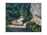 Landscape. Road with Trees in Rocky Mountains Giclée par Paul Cézanne