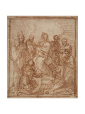 Enthroned Madonna with Child and Eight Saints (Composition Stud)  1528