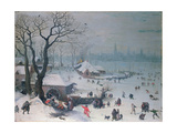 Winter Landscape with Snowfall Near Antwerp