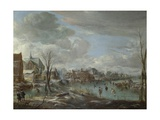 A Frozen River Near a Village  with Golfers and Skaters  C 1647-1648