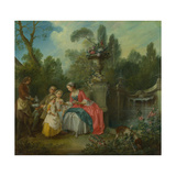 A Lady in a Garden Taking Coffee with Some Children  Ca 1742