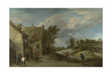 Peasants Playing Bowls Outside a Village Inn  C 1660