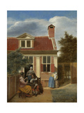 A Company in the Courtyard Behind a House  1663-1665
