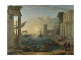 Seaport with the Embarkation of the Queen of Sheba  1648