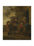 A Pedlar Selling Spectacles Outside a Cottage  C 1653