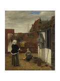 A Woman and Her Maid in a Courtyard  Ca 1661