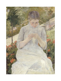 Young Woman Sewing in the Garden  1880-1882