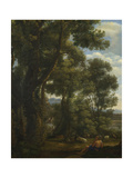 Landscape with a Goatherd and Goats  Ca 1637